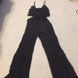 NWT! Black jumpsuit with ruffled top